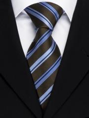 Handvernähte Krawatte aus Seide, kaffebraun mit blau weissen Streifen
