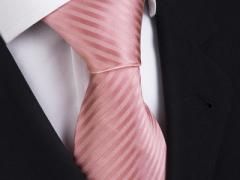 Handvernähte Krawatte aus Seide lachsfarben, changierend gestreift