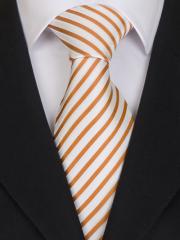 Handvernähte Krawatte aus Seide, messingfarben mit weissen Streifen