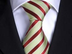 Handvernähte Krawatte aus Seide mint rot und weiss gestreift