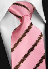 Handvernähte Krawatte aus Seide rosa mit Streifen in bordeaux