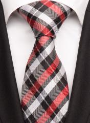 Handvernähte Krawatte aus Seide rot schwarz silbergrau gestreift