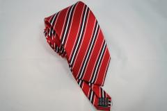 Handvernähte Krawatte aus Seide rot schwarz weiss gestreift