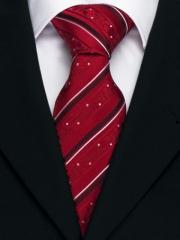 Handvernähte Krawatte aus Seide rot und weiss gestreift