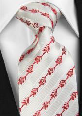 Handvernähte Krawatte aus Seide weiss mit roter Musterung