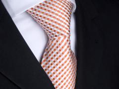 Handvernähte Krawatte aus Seide weiss orange kariert