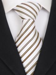 Handvernähte Krawatte aus Seide weiss, schwarz und messingfarben gestreift