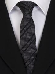 Handvernähte slim line Krawatte aus Seide schwarz anthrazit gepunktet