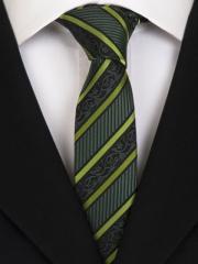 Handvernähte slim line Krawatte aus Seide schwarz grün gestreift