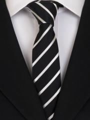 Handvernähte slim line Krawatte aus Seide schwarz weiss gestreift