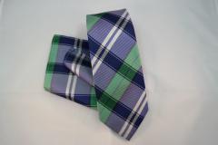 Handvernähtes Krawattenset mit Einstecktuch aus Seide blau weiss und schwarz