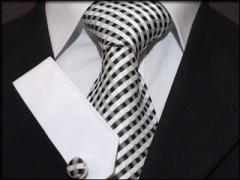 Krawatten Set aus Seide weiss schwarz kariert
