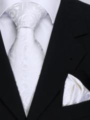 Krawatten Set mit Einstecktuch aus Seide mit weissem Paisley Muster