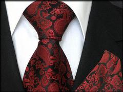 Krawatten Set mit Einstecktuch aus Seide schwarz bordeaux Paisley